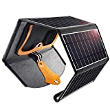 CHOETECH Cargador Solar Plegable, 22W Panel Solar Cargador Portátil Impermeable Power Bank para Teléfonos Samsung, iPhone, Huawei, iPad, Altavoz, Cámara, Tableta, Bocina Bluetooth etc