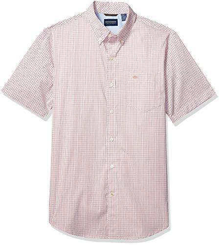 Dockers Men's Short Sleeve Button Down Comfort Flex Shirt, Branson Marsala - Plaid, XX-Large