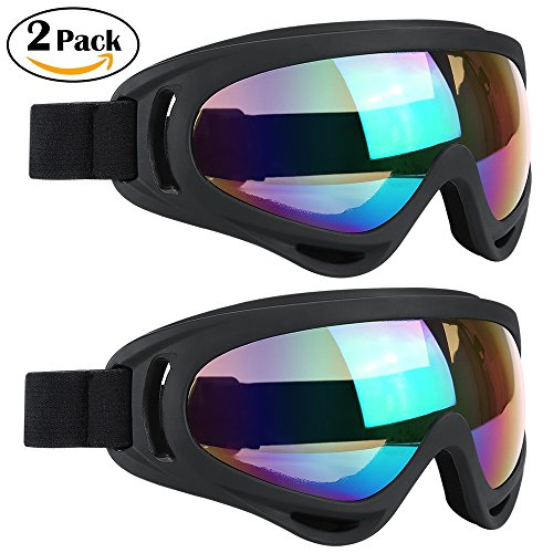Ski Goggles 2 Packs, Multicolor Lenses Snow Goggles with Wind Dust UV 400 Protection for Women Men Kids Girls Boys Winter Snowboard Snowmobile Skiing Skate Motorcycle Bicycle Riding (Black/Black)