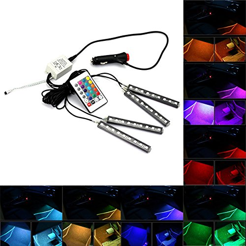XY-ZONE-Model-C-4-Piece-Multi-Color-7-Color-36-LED-Underdash-Lighting-Kit-Interior-Atmosphere-Neon-Lights-Strip-for-Car-Decoration-Lamp-for-All-VehiclesFloor-Lights-Wireless-IR-Remote-Charger