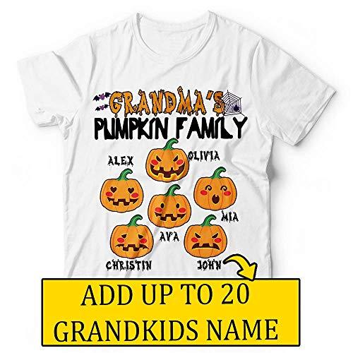 Grandma's Pumpkin Patch Family Grandchilds Name Halloween Costume Change Text Customized Handmade T-Shirt Hoodie/Long Sleeve/Tank -