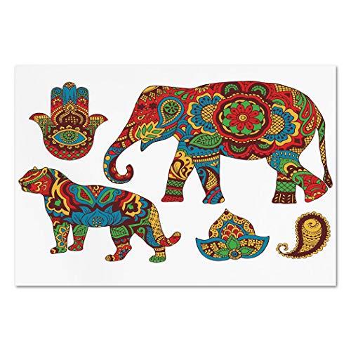 Large Paisley Wallpaper - Large Wall Mural Sticker [ Hamsa,African Savannah Animals Paisley and Hamsa Hand Pattern with Orient Ornate Malaysian,Multicolor ] Self-Adhesive Vinyl Wallpaper/Removable Modern Decorating Wall Art