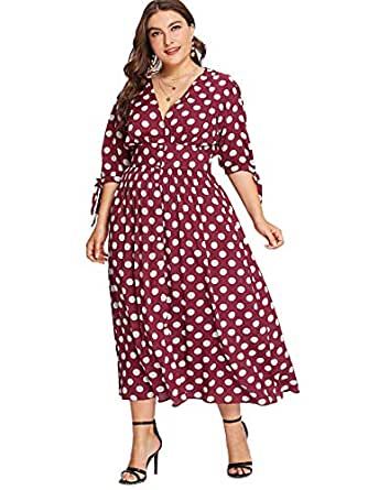 Milumia Plus Size Maxi Dress Polka Dot Vintage Retro Classic Homecoming Party Button up Dress Red 0XL
