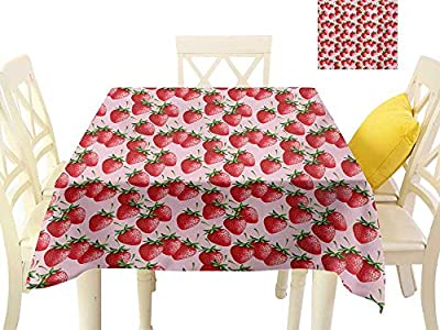 familytaste Printed Tablecloth Red,Delicious Big Strawberries on Pink Background Tasty Juicy Sweet Ripe Summer Fruits,Red Green Pink Dining Kitchen Table Cover
