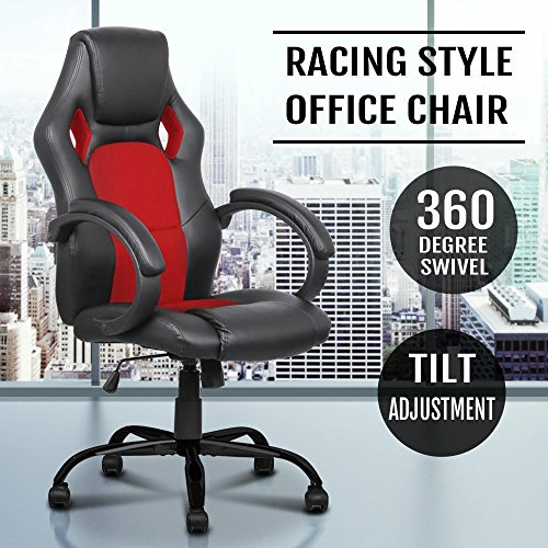 51IolsoP55L - Yaheetech Faux Leather Red Executive Home/Office Racing Style Bucket Desk Seat Chair