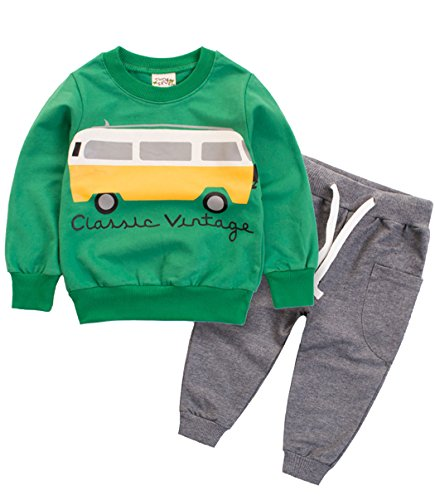 - Baby and Little Boys Toddler Sweart Shirt Pants Clothes Sets Casual Outfit(Green Car,100,3T)