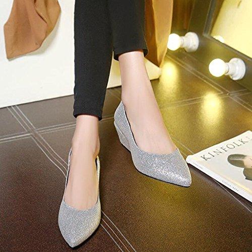 Chaussures Tissu de Femme en Pointue Talon Peu Épais silver Printemps Talon Mi Tige Profonde Automne Bouche Tête Pailleté Chaussures escarpins qwFaIT