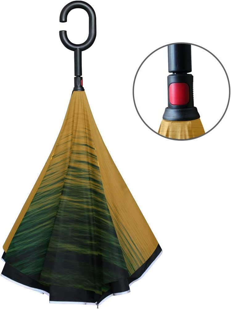 Double Layer Inverted Inverted Umbrella Is Light And Sturdy Beautiful Sunset Above Sea Reverse Umbrella And Windproof Umbrella Edge Night Reflection