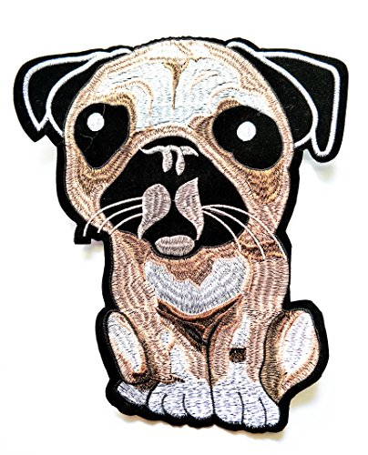 Nipitshop Patches Big Size Patch Cute Dog Pug Cartoon Kid Bulldog Pug Shih Tzu Rottweller Chihuahua Smooth Coat Beagle Yorkshire Terrier Siberian Husky Golden Retriever Iron-on Patch for Clothes