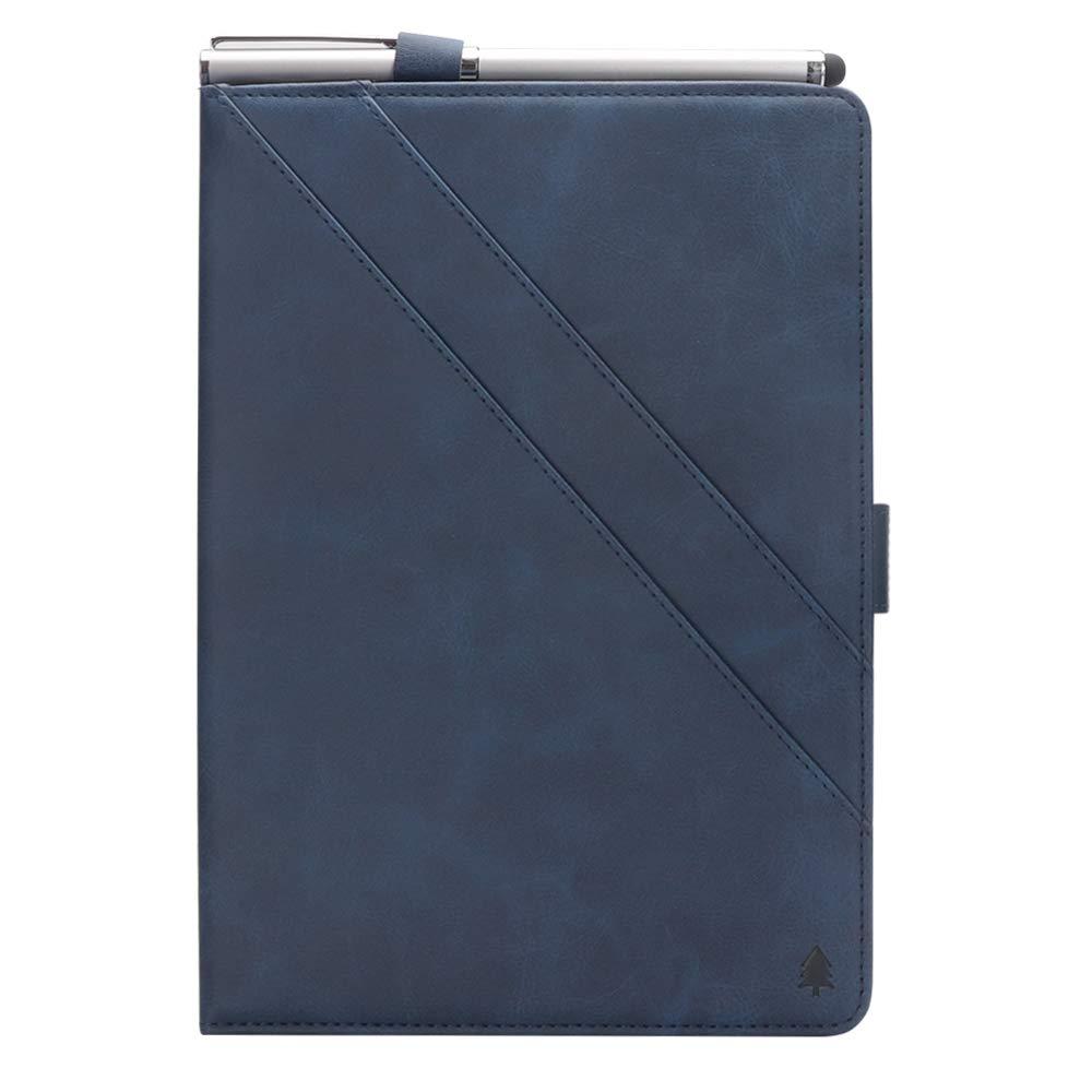 Samsung Galaxy Tab A 8.0インチ T387ケース 高級本革ケース スタンド付き フリップカバー ハンドメイド Samsung Galaxy Tab A 8.0インチ T387用 (ダークブルー)   B07LCHZZH5
