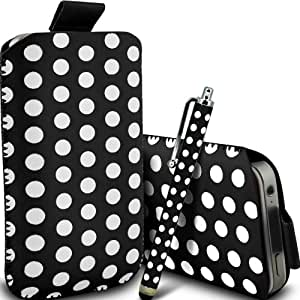 ONX3 ZTE Blade Q Maxi Leather Slip cable protector Polka PU Pull In Pouch Case Quick Release y Mini capacitivo Stylus Pen (Negro y Blanco)