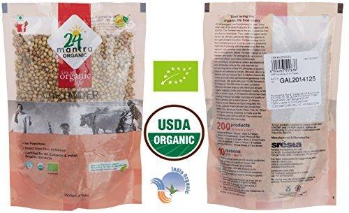 Organic Coriander Seeds - Whole Coriander Seeds in Bulk - ★ USDA Certified Organic - ★ European Union Certified Organic - ★ Pesticides Free - ★ Adulteration Free - ★ Sodium Free - 7 Ounces - 24 Mantra Organic by 24 MANTRA