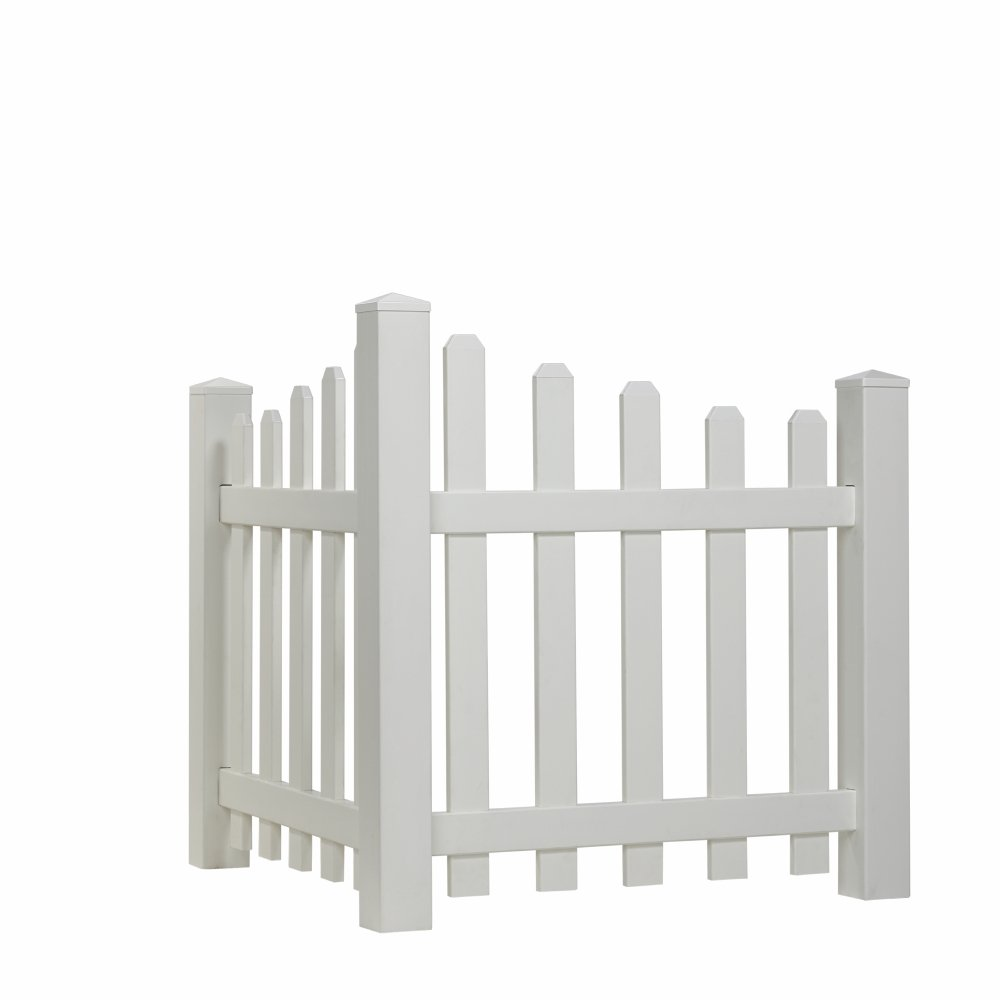Outdoor Essentials Scalloped Picket Accent Fence with Dog Ear Shaped Cap Universal Forest Products 175845