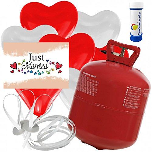 50 Herz Luftballons freie Farbwahl mit Helium Ballon Gas + 50 Weitflugkarten Just Married + Gratis Doriantrade Seifenblasen 60 ml Hochzeit Valentinstag Komplettset (Rot/Weiß)
