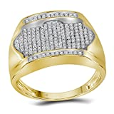 10kt Yellow Gold Mens Round Diamond Rectangle Arched Cluster Ring 1/2 Cttw