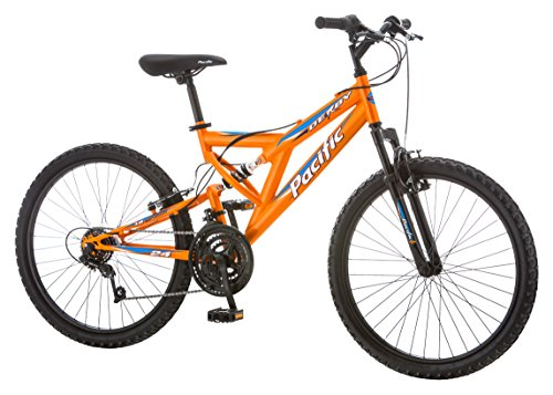 Find a Pacific Boys Derby Full Suspension Bicycle with 24″ Wheels, Orange, 13″/Small