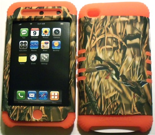 Camo Ducks on Orange Silicone Skin for Apple ipod Touch iTouch 4G 4 Hybrid 2 in 1 Rubber Cover Hard Case (Ipod 4g Case Camo)