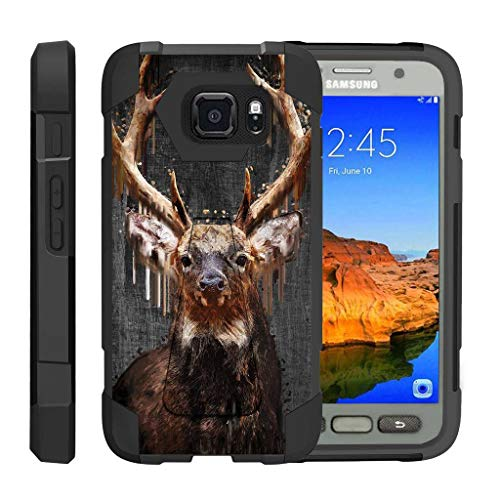 TurtleArmor   Compatible Samsung Galaxy S7 Active Case   G891A [Dynamic Shell] Hybrid Duo Cover Impact Absorber Shock Silicone Combo Hard Shell Kickstand Animal Design - Painted Elk