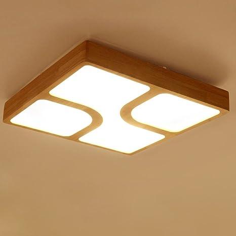 XUANLAN Lampada da tavolo minimalista in legno quadrato nordico ...