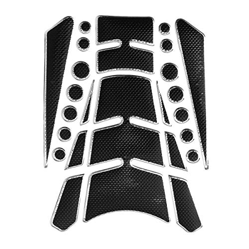 (Hitommy Motorcycle Tank Pad Decals Sticker for Honda/Suzuki/Yamaha/Kawasaki - Silver)