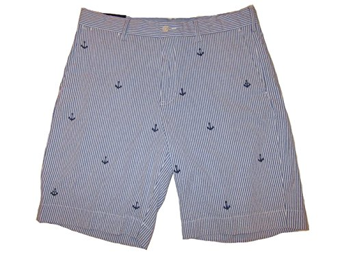 RALPH LAUREN Polo Mens Seersucker Anchor Embroidery Stretch Classic Fit Shorts Blue (33)