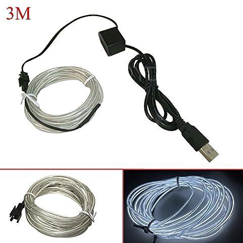 Enjoydeal 3M Flexible EL Wire Neon LED Strip USB Glow Tube Party ...