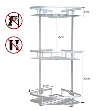 Organizador estantería esquinero adhesivo de 1, 2, 3 pisos de ducha con cesta de
