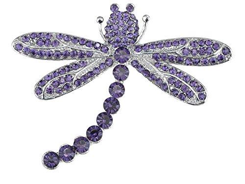Alilang Captivating Amethyst Crystal Rhinestone Dragonfly Fashion Jewelry Pin Brooch