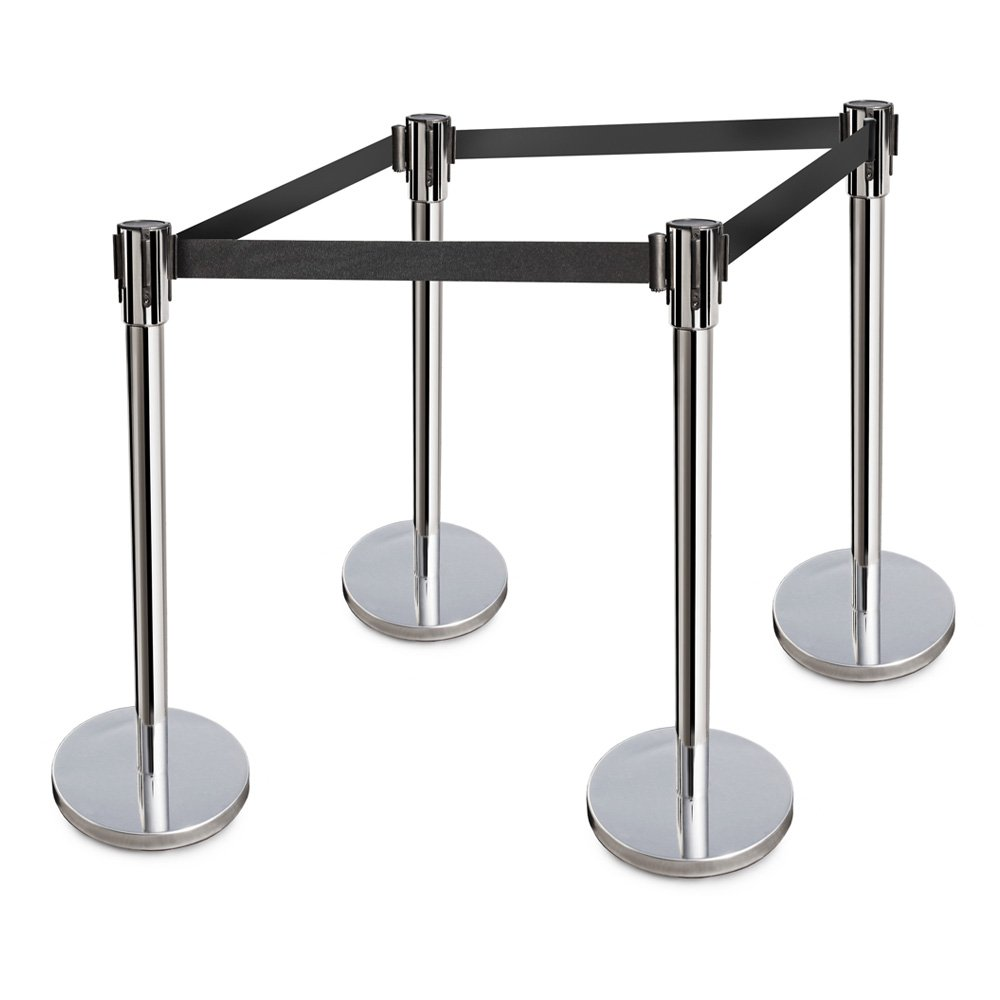New Star Foodservice 54651 Stanchion, 36-Inch Height, 6.5-Foot Retractable Belt, Set of 4, Stainless Steel