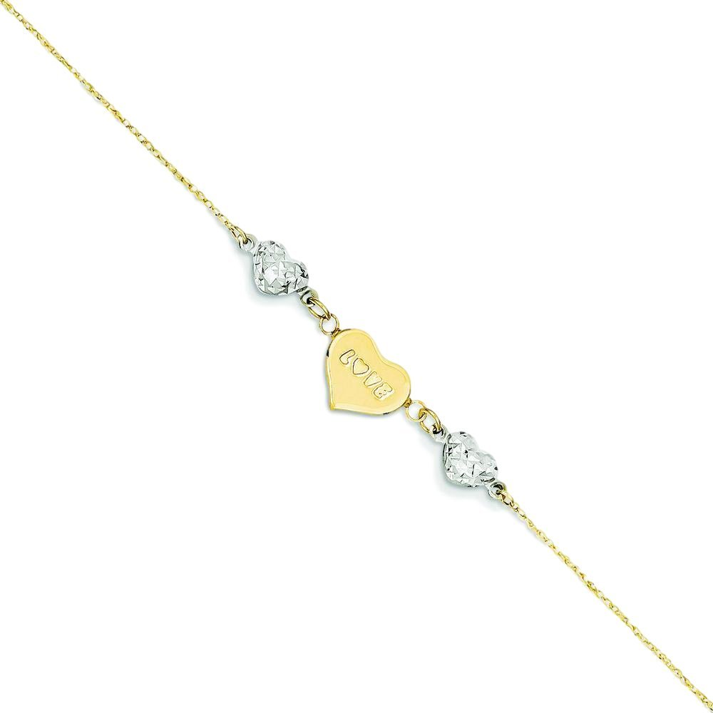 14K Gold Two Tone Diamond Cut Beaded Puff Heart Love Anklet Jewelry 9''