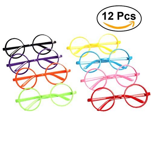 Tinksky Party Glasses Frame Wizard Nerd Round Black Frame Glasses No Lenses Costume Eyewear Party Favors 12pcs (Assorted - Nerd Glasses Plastic