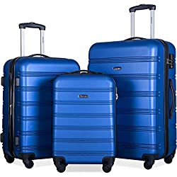 Merax Expandable Luggage Set with TSA Locks, 3 Piece Spinner Suitcase Set (Blue)