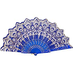 Cinhent Hand Folding Fans Chinese/Spanish Style Dance Party Wedding Use, Foldable Elegant Modern Woman Handmade Silk Fan, Home Decoration,Collapsible Holding Painted Fan (Random Style) (Blue)