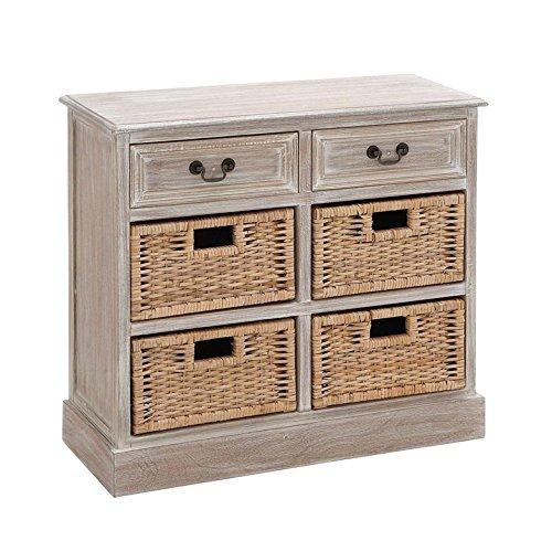 "Deco 79 96285 Wood 4 Basket Dresser, 30"" x 28"", Taupe"