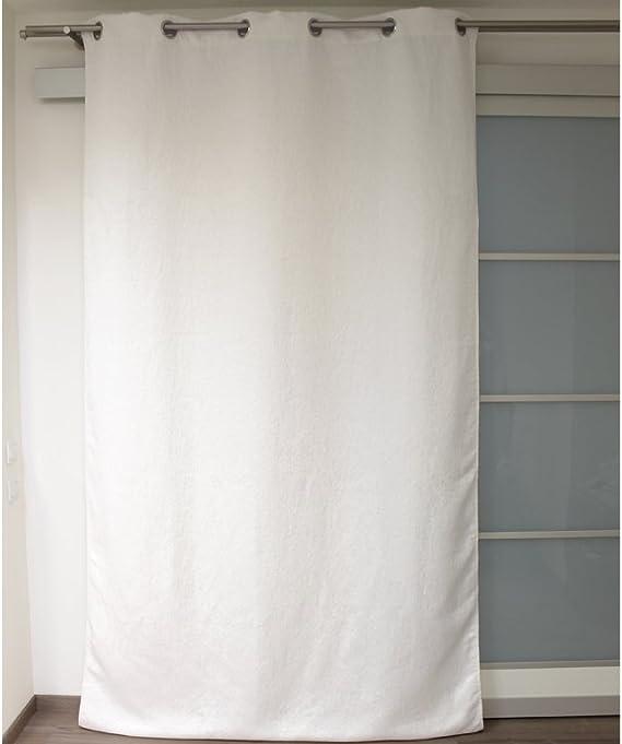Soleil docre Cortina con Anillas integradas SATURNE Blanca, piqué de algodón: Amazon.es: Hogar
