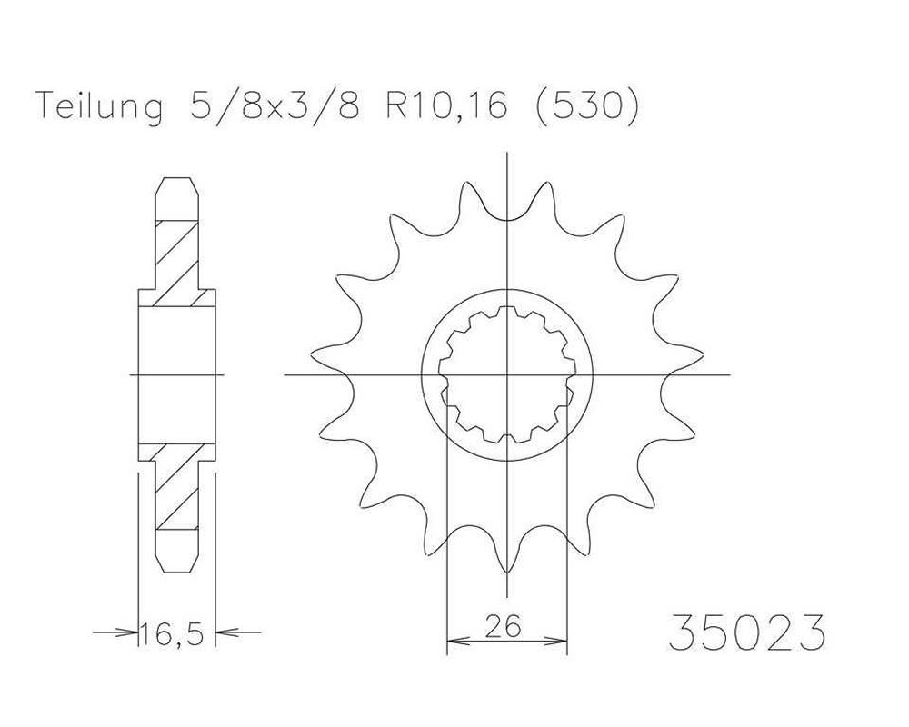 5//8/Â X 3//8 Ritzel 15/Â Z/ähne Stahl 530er Teilung