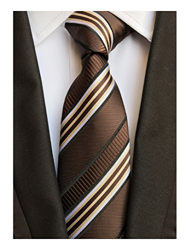 Men's Coffee Brown White Tie Silk Luxury Unique Designer Cool Self Dress Necktie