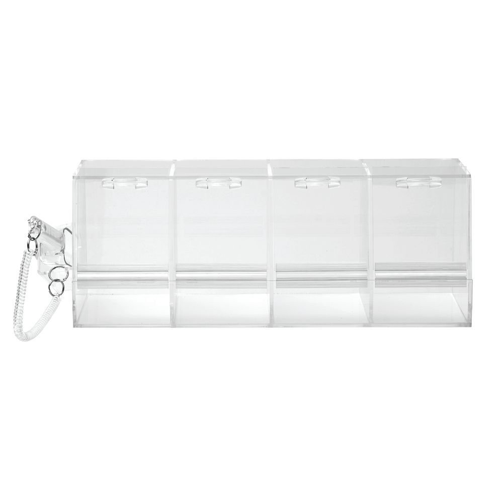 Bulk Food Bins Clear Acrylic 4 Section Bins With Scoop - 24'' L x 9'' W x 9'' H