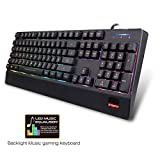 Gaming Keyboard,SAREPO LED Backlight Wired USB 9 Modes Switchable RGB 19 Anti Ghosting Keys for Gaming and Water Proof Music Equalizer LED Lights for Office and Gaming with All Windows IOS Compatible