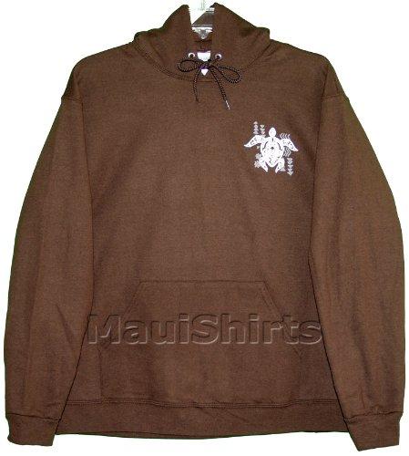 Screen Fleece Sweatshirts - Unisex Hooded Sweatshirt - Tribal Turtle Cotton Fleece Hoodie Screen Printed with Maui Island in Chocolate - L