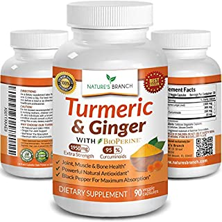 Extra Strength Turmeric Curcumin with Ginger & BioPerine - 1950mg Joint Pain Relief Supplement for Inflammation with Black Pepper Powder Extract - Premium Made in USA Vegan Non GMO Pills - 90 Capsules