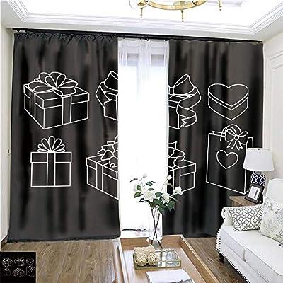 Juego de cortinas de dibujos animados serie Doodle sin costuras con corazones2 W72 x L72 cortina de puerta corredera para habitación de invitados, cortinas de alta precisión para dormitorios, salones, cocinas, etc.: