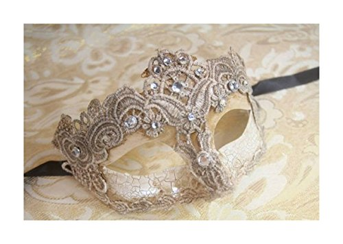 [Women's Brocade Half Mask with Crystals (Off White)] (Adult Womens Mardi Gras Queen Costumes)