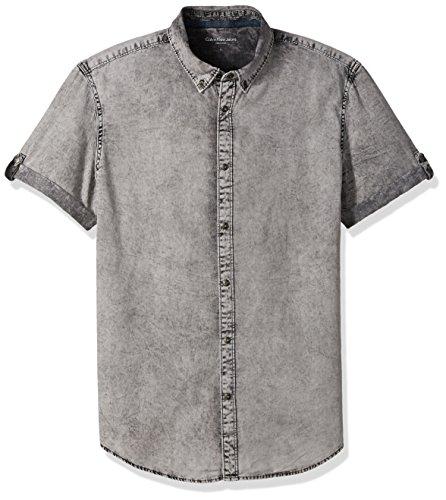 Calvin Klein Jeans Mens Short Sleeve Denim Button Down Shirt