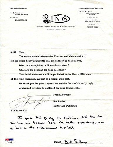 94d20ee110f Autographed Joe Frazier Photograph - Dick Schaap 8x10 Letter PSA) - Boxing Cut  Signatures at Amazon s Sports Collectibles Store