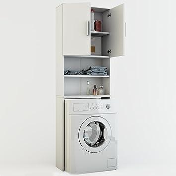 Vicco Waschmaschinenschrank Weiß 190 X 64 Cm   Badregal Hochschrank Waschmaschine  Bad Schrank Badezimmerschrank Überbau