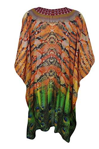 Mogul Interior Damen Kimono Kleid Blau ozeanblau Einheitsgröße Oarnge,Green