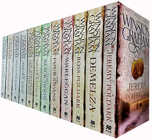 Winston Graham Poldark Series 12 Books Collection Set (Ross Poldark, Demelza, Jeremy Poldark, Warleggan, The Black Moon, The Four Swans, The Angry Tide, The Stranger From The Sea, The Miller's Dance.. by Pan