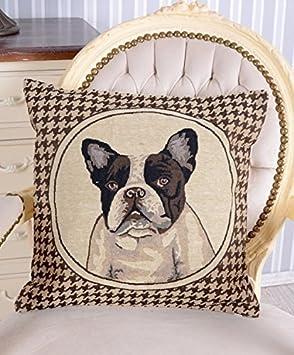 Kissen Gobelin Zierkissen Reißverschluss Bulldogge Kissenhülle Kissenbezug Hund