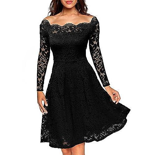 MissMay Womens Vintage Floral Lace Long Sleeve Boat Neck Cocktail Formal Swing Dress Black Large